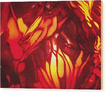 Reds Stained Glass Wood Print