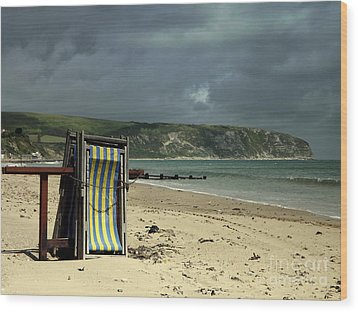 Wood Print featuring the photograph Redundant Deck Chairs by Linsey Williams