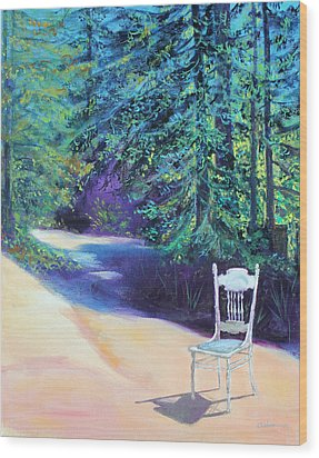 Wood Print featuring the painting Redwood Path And White Chair by Asha Carolyn Young