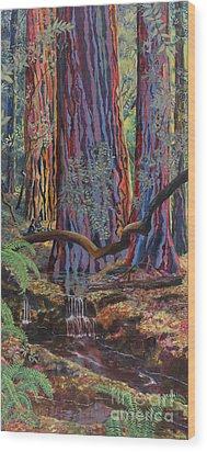 Redwood Picnic Wood Print by Cheryl Myrbo