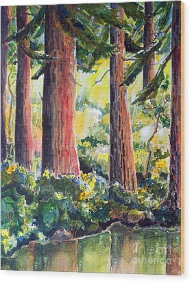 Redwoods Wood Print by Terry Banderas