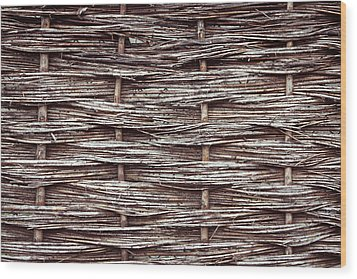 Reed Fence Wood Print by Tom Gowanlock