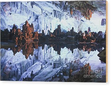Reed Flute Cave Guillin China Wood Print by Thomas Marchessault