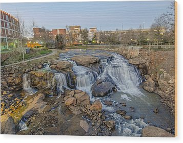 Reedy Falls At Dusk In Downtown Greenville Sc Wood Print