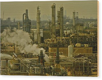 Refineries In Houston Texas Wood Print by Kirsten Giving