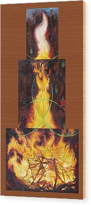 Refiners Fire Wood Print by Anne Cameron Cutri