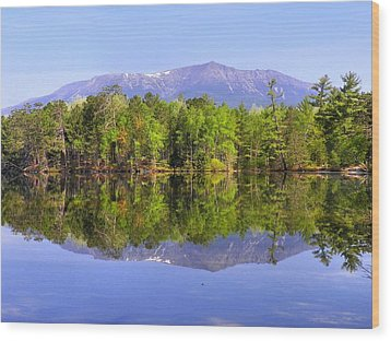 Wood Print featuring the photograph Reflected Katahdin by Gene Cyr