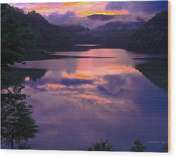 Reflected Sunset Wood Print by Tom Culver