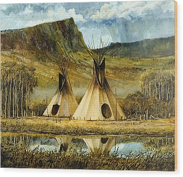 Reflected Tipis Wood Print by Steve Spencer