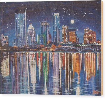 Reflecting Austin Wood Print by Suzanne King