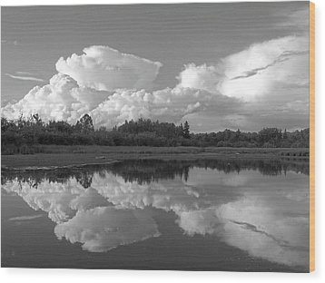 Reflecting Clouds Wood Print by Gene Cyr