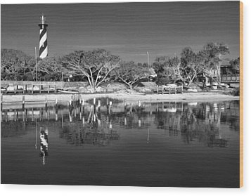 Reflecting Lighthouse  Wood Print by Alice Gipson
