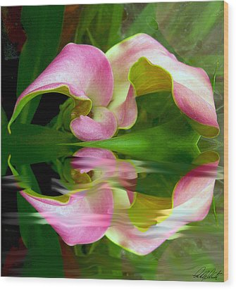 Reflecting Lily Wood Print by Michele Avanti