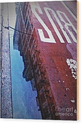 Reflecting On City Life Wood Print by James Aiken