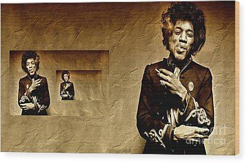 Reflecting On Jimi Hendrix  Wood Print