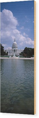 Reflecting Pool With A Government Wood Print by Panoramic Images