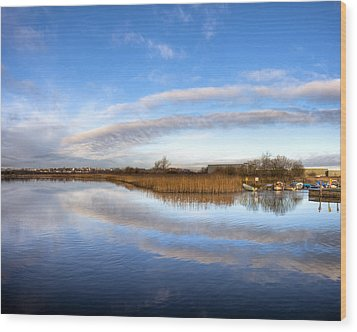 Reflecting Skies On The River Corrib In Galway Wood Print by Mark E Tisdale