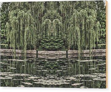 Reflecting Willows Wood Print
