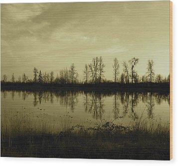 Reflection - Ankeny Wildlife Refuge Wood Print