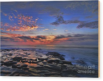 Sunset At Tide Pools At La Jolla Wood Print