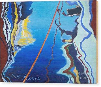 Reflection At The Marina Wood Print