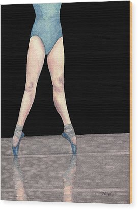 Wood Print featuring the painting Reflection En Pointe by Dee Dee  Whittle