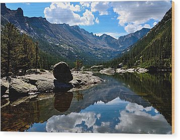 Reflection In Mills Lake Wood Print