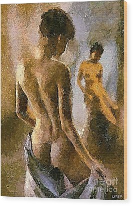 Reflection In The Miror Wood Print by Dragica  Micki Fortuna