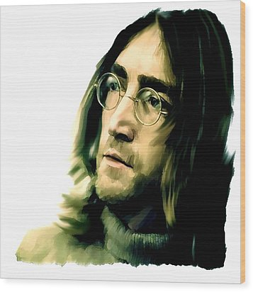 Reflection John Lennon Wood Print by Iconic Images Art Gallery David Pucciarelli