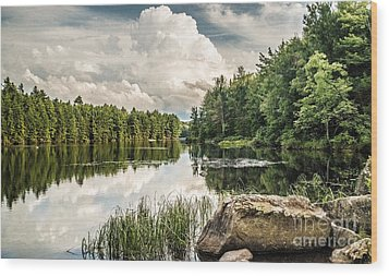 Wood Print featuring the photograph Reflection Lake In New York by Debbie Green