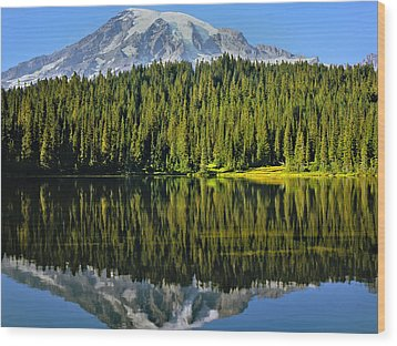 Reflection Lake Mount Rainier Wood Print by Matthew Ahola
