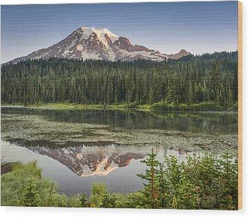 Reflection Lakes At Mount Rainier Wood Print