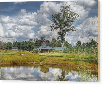 Wood Print featuring the photograph Reflection Of A Farm House by Kathy Baccari