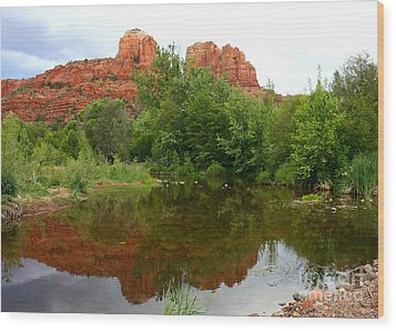 Reflection Of Cathedral Rock Wood Print by Carol Groenen