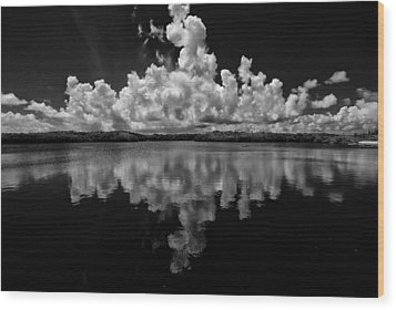 Reflection Of Clouds Wood Print