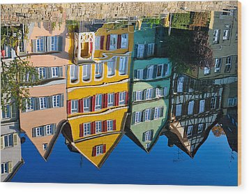 Reflection Of Colorful Houses In Neckar River Tuebingen Germany Wood Print by Matthias Hauser