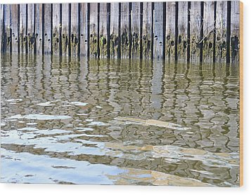 Reflection Of Fence  Wood Print by Sonali Gangane