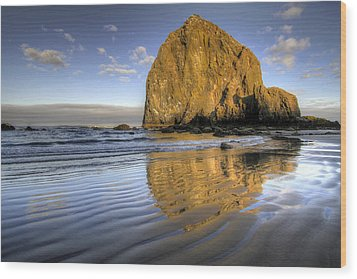 Reflection Of Haystack Rock At Cannon Beach 2 Wood Print