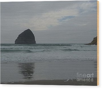 Reflection Of Haystock Rock  Wood Print by Susan Garren