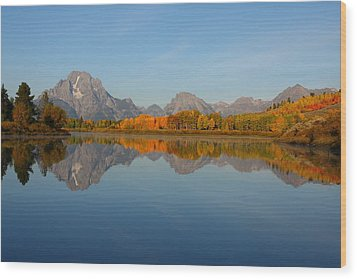 Reflection Of Mount Moran In Autumn Wood Print by Jetson Nguyen