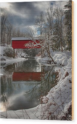 reflection of Slaughterhouse covered bridge Wood Print