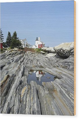 Reflection Of The Lighthouse Wood Print by Jewels Blake Hamrick
