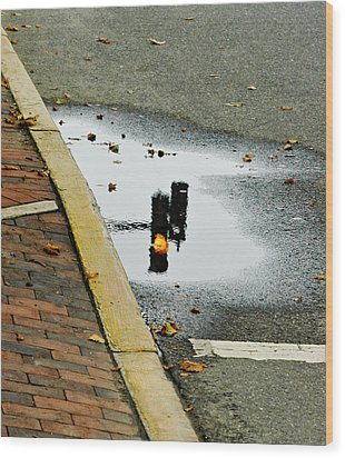Reflection Of Traffic Light In Street Puddle Wood Print by Gary Slawsky