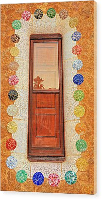 Reflection On Gaudi Wood Print by Nigel Fletcher-Jones