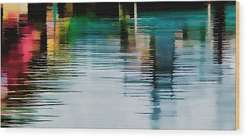 Reflection On The River Wood Print by Pamela Blizzard