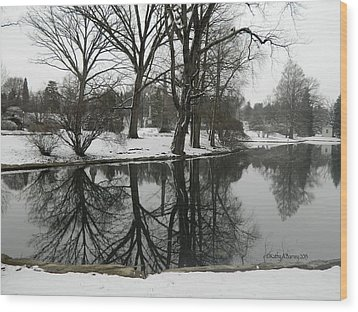 Reflection Pond Spring Grove Cemetery Wood Print by Kathy Barney