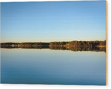 Reflection...lake At Sun Down II Wood Print