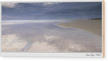 Reflections At Anna Bay Wood Print by Steve Caldwell