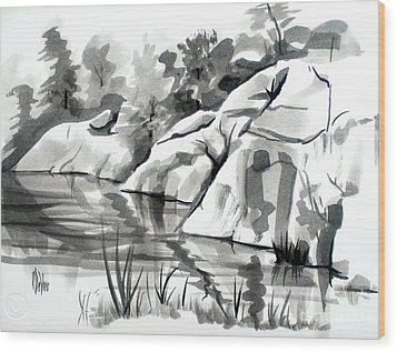 Reflections At Elephant Rocks State Park No I102 Wood Print by Kip DeVore