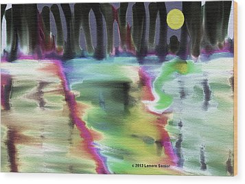Reflections At Midnight Wood Print by Lenore Senior